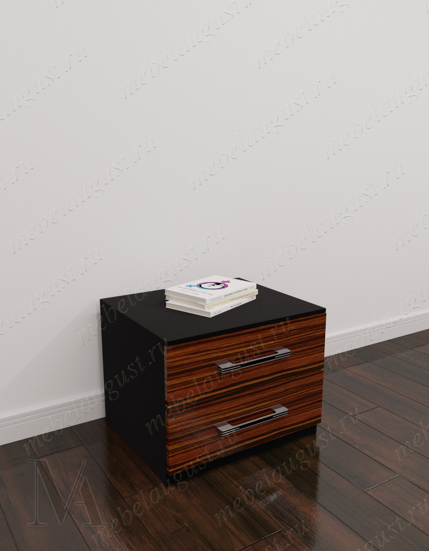 Маленький комод с двумя ящиками в спальню цвета макасар