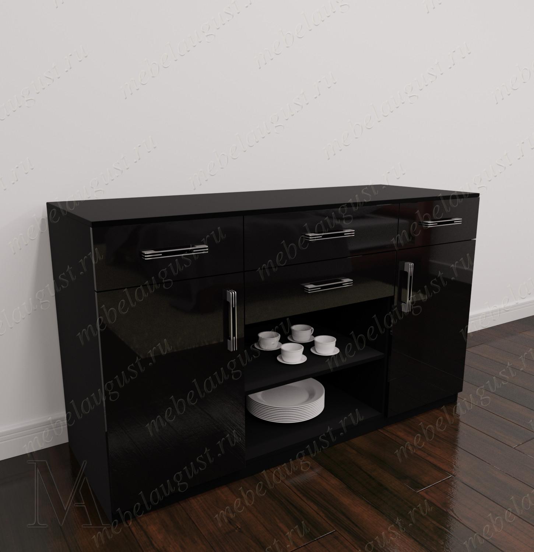 Черный глянцевый комод в гостиную для посуды с дверками и ящиками