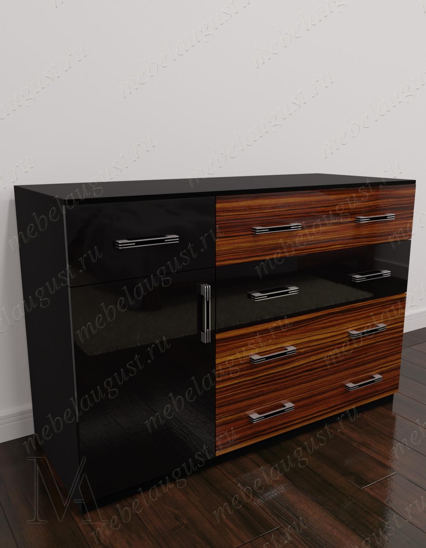 Глянцевый комод для спальни с пятью ящиками с дверками и ящиками