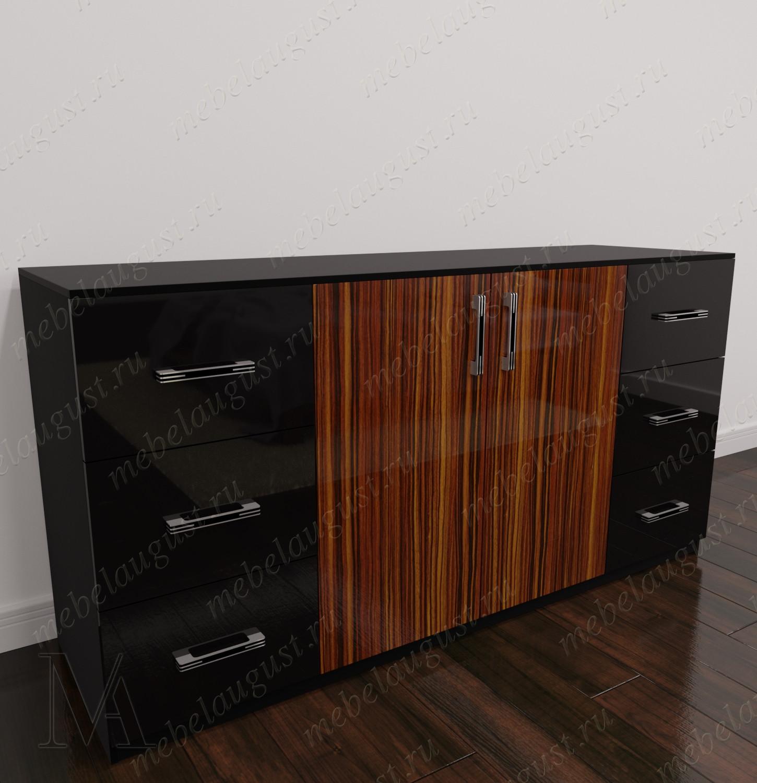 Глянцевый комод для белья с 6-ю выдвижными ящиками с дверками и ящиками