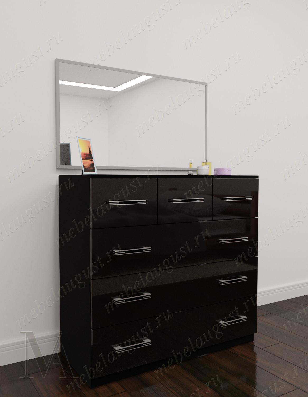 Зеркальный бельевой комод для спальни цвета черный глянец
