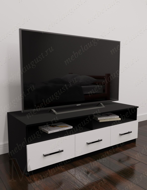 Черно-белый глянцевый маленький комод под тв с 3-мя выдвижными ящиками