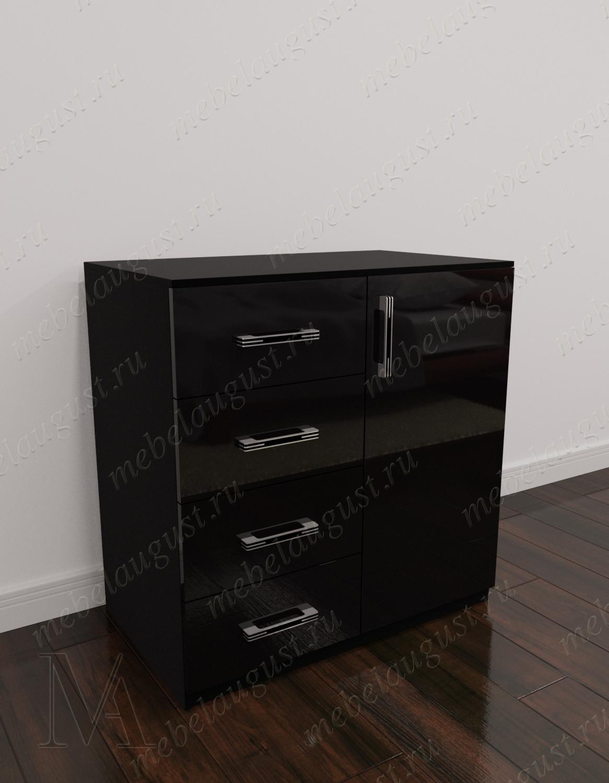 Мини комод с 4-мя выдвижными ящиками в спальню цвета черный глянец