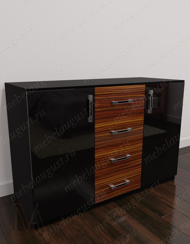Глянцевый комод для белья в спальню с дверками и ящиками