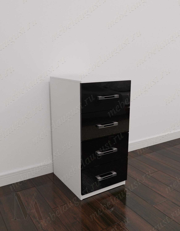 Бельевой мини комод с четырьмя выдвижными ящиками цвета черно-белый глянец