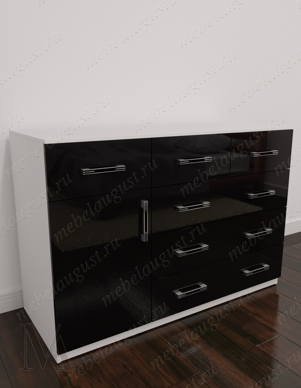 Черно-белый глянцевый комод с 5-ю выдвижными ящиками в спальню с дверками и ящиками