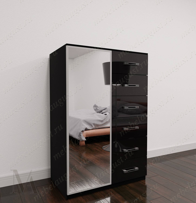 Высокий зеркальный бельевой комод
