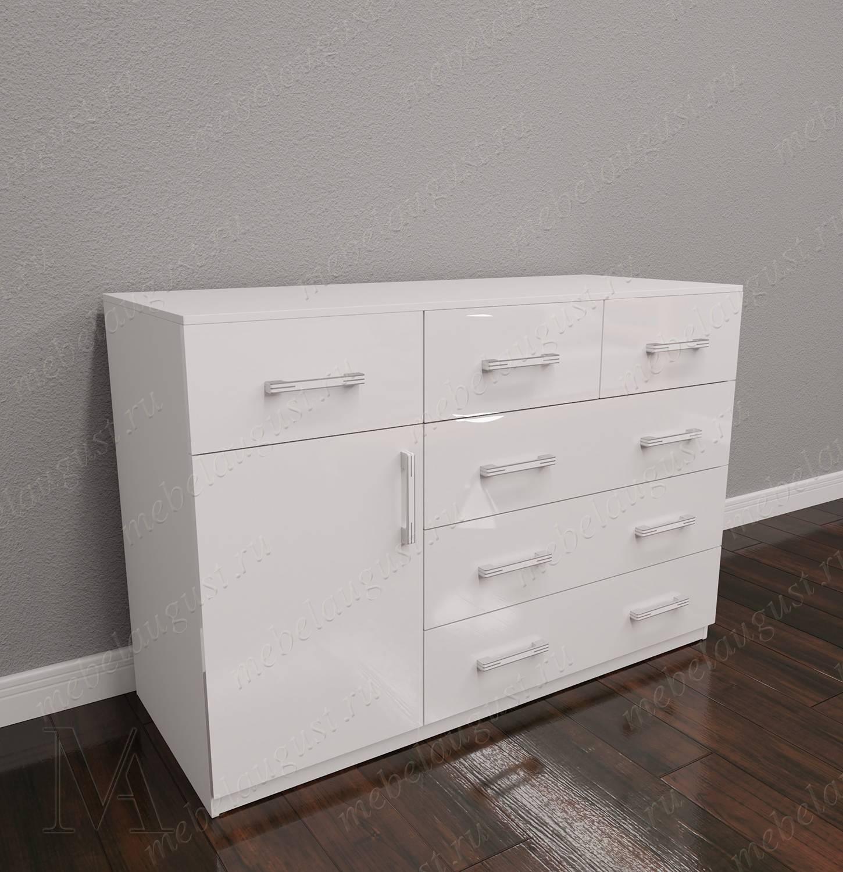 Комод с 5-ю выдвижными ящиками в спальню с дверками и ящиками цвета белый глянец