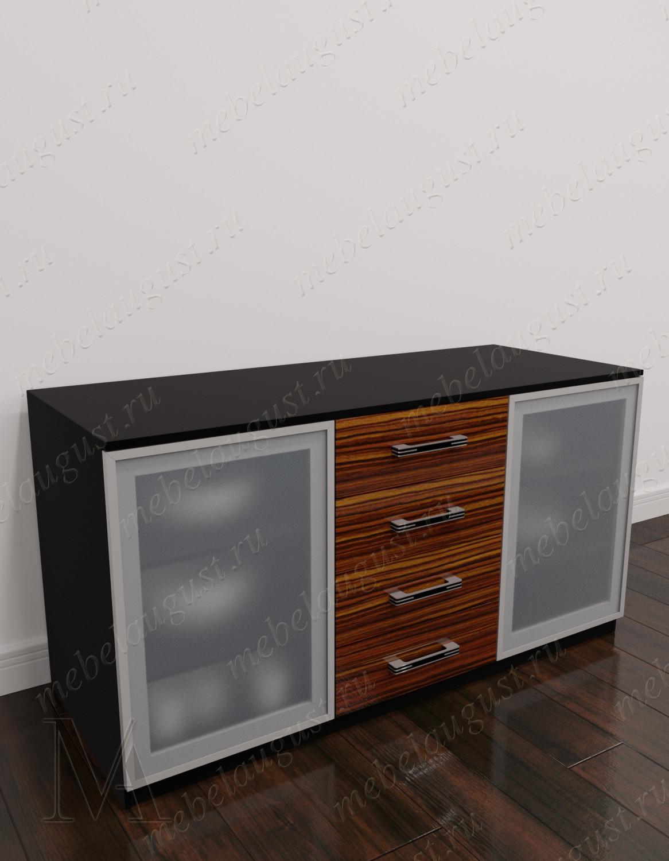 Глянцевый комод в кабинет с 4-мя ящиками с дверками и ящиками
