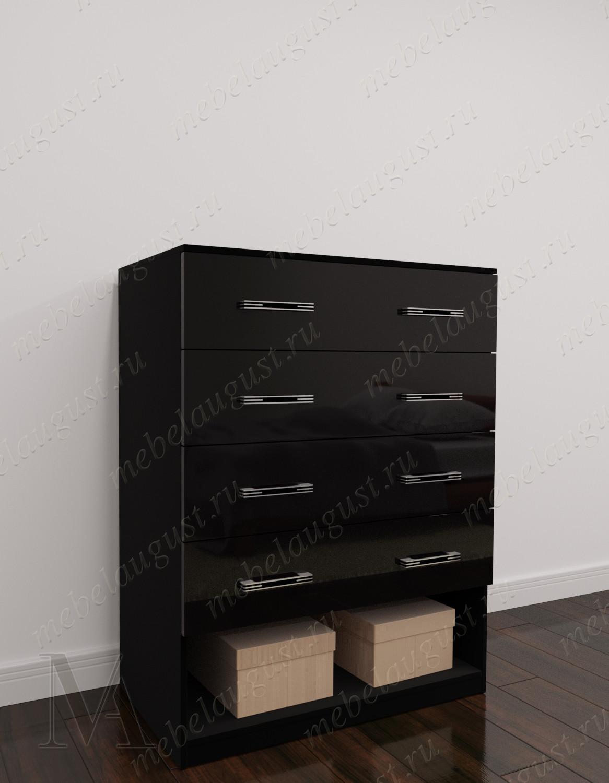 Черный глянцевый высокий комод для белья для спальни
