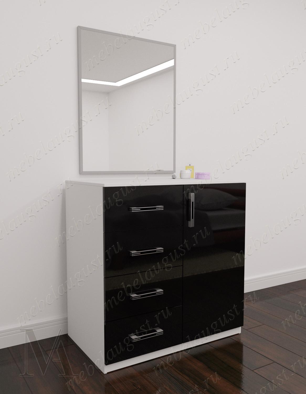 Черно-белый глянцевый комод для белья для спальни с дверками и ящиками