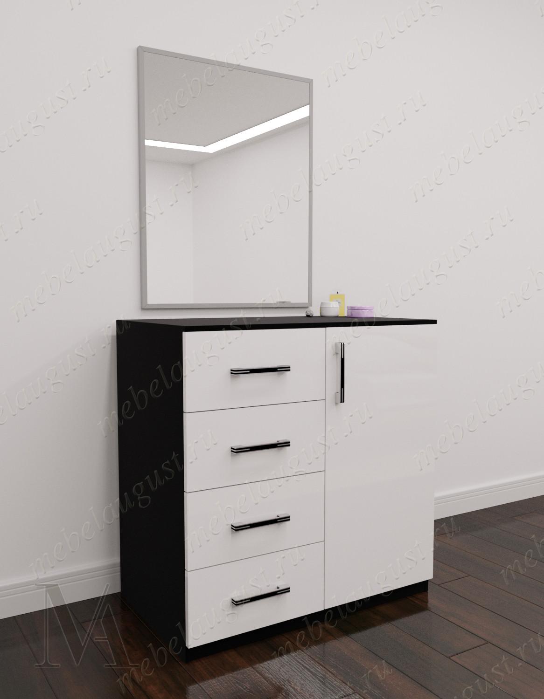 Зеркальный комод с 4-мя ящиками с дверками и ящиками