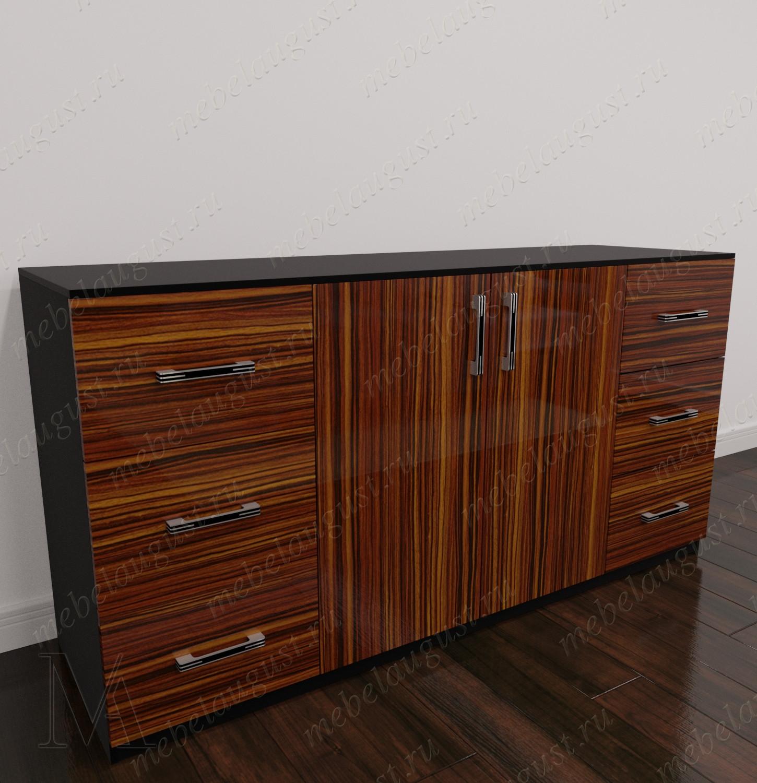 Комод с 6-ю выдвижными ящиками в спальню с дверками и ящиками цвета макасар