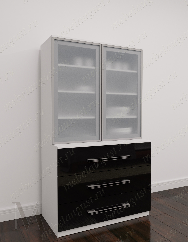 Черно-белый глянцевый высокий комод витрина с тремя выдвижными ящиками