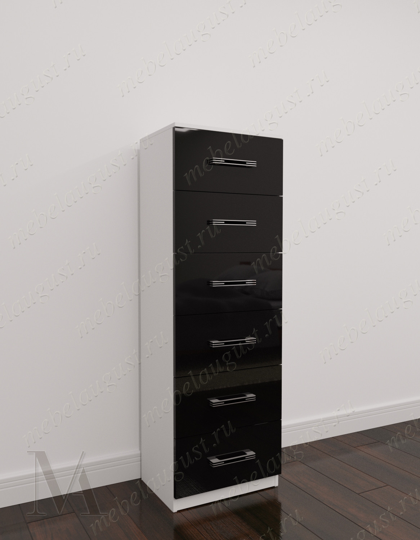 Черно-белый глянцевый высокий комод в гостиную с шестью ящиками