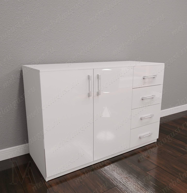 Белый глянцевый комод с 4-мя выдвижными ящиками в спальню с дверками и ящиками