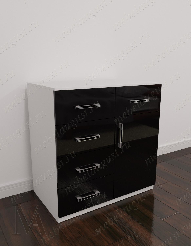 Черно-белый глянцевый маленький комод в спальню с дверками и ящиками