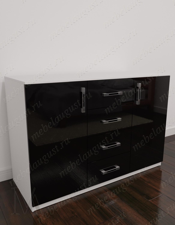 Черно-белый глянцевый бельевой комод с 4-мя ящиками с дверками и ящиками