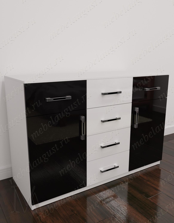 Бельевой комод для спальни с шестью ящиками цвета черно-белый глянец