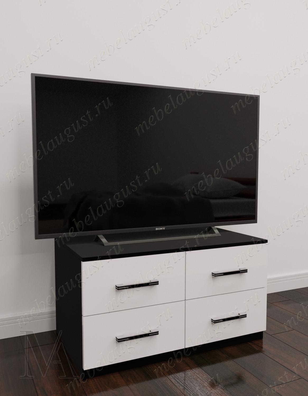 Маленький комод с 4-мя ящиками в спальню цвета черно-белый глянец