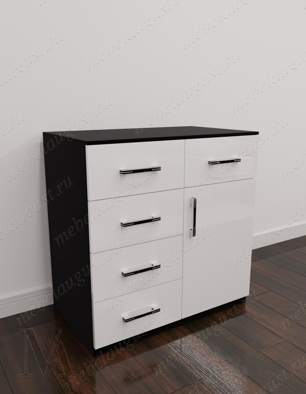 Черно-белый глянцевый мини комод для белья в спальню