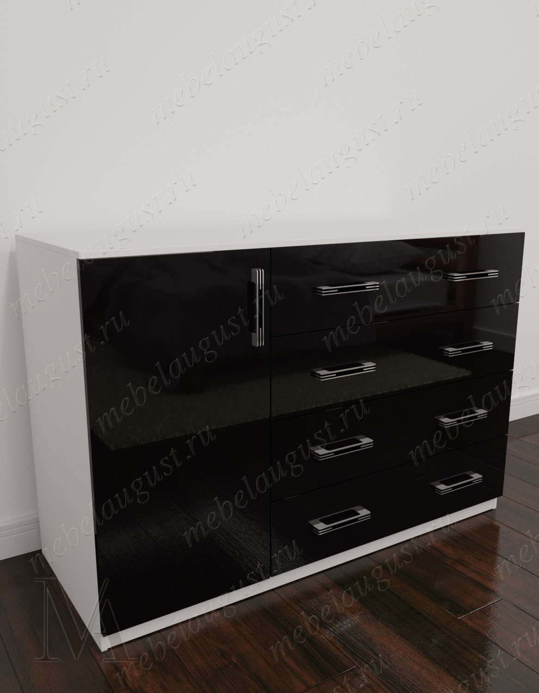 Черно-белый глянецевый бельевой комод для спальни с 4-мя выдвижными ящиками