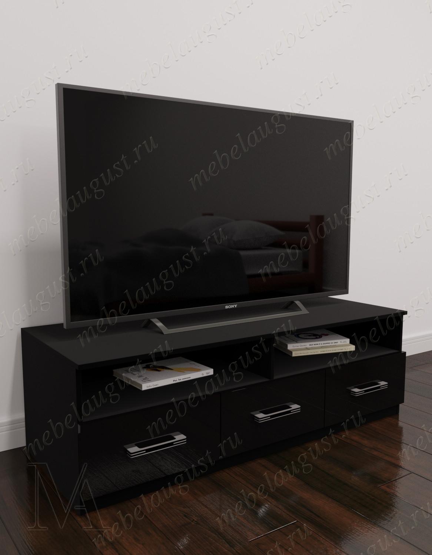 Малогабаритный комод под телевизор в кабинет цвета черный глянец