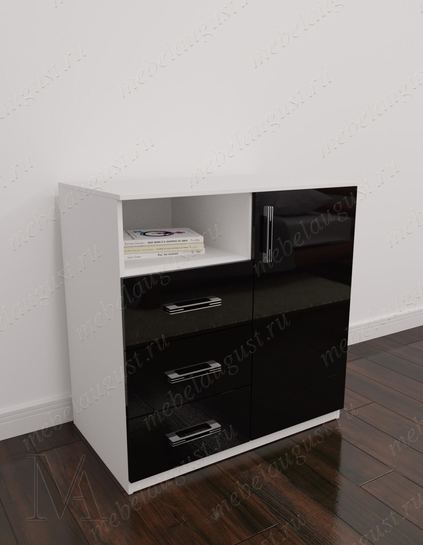 Черно-белый глянецевый маленький комод с полками с 3-мя выдвижными ящиками