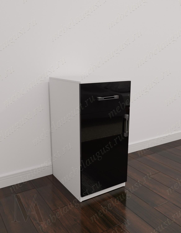Черно-белый глянцевый мини комод с одним выдвижным ящиком с дверками и ящиками