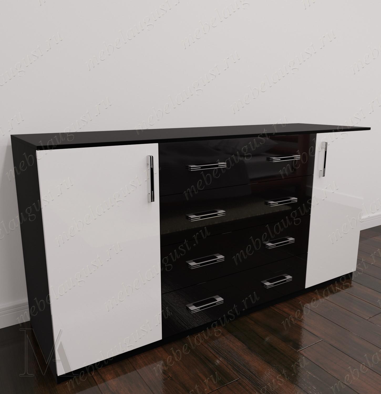 Черно-белый глянцевый длинный бельевой комод с дверками и ящиками