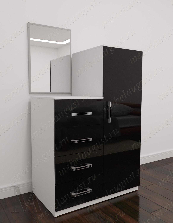 Зеркальный комод с 4-мя выдвижными ящиками с дверками и ящиками цвета черно-белый глянец