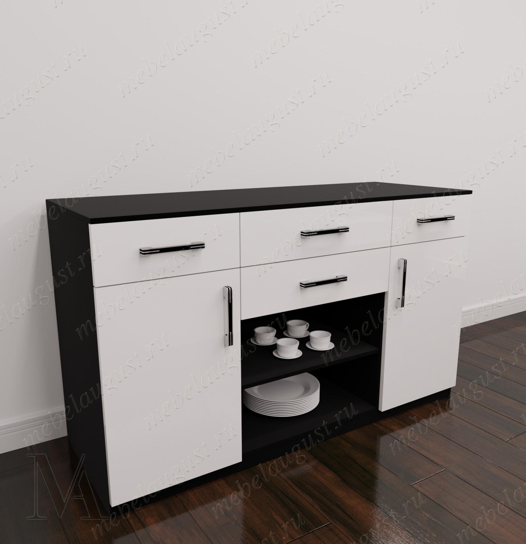 Черно-белый глянцевый комод в зал с четырьмя ящиками для посуды