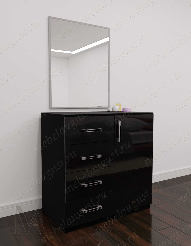 Зеркальный комод с 4-мя выдвижными ящиками с дверками и ящиками цвета черный глянец