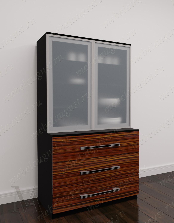 Глянцевый высокий комод витрина с 3-мя ящиками