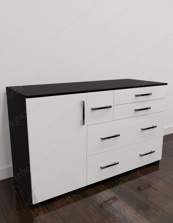 Черно-белый глянцевый бельевой комод в спальню с дверками и ящиками