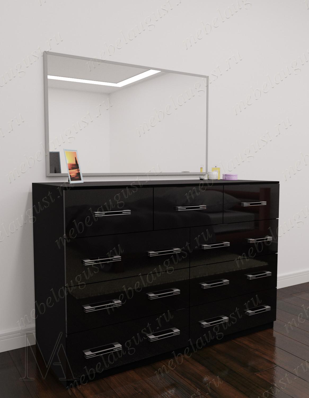 Черный глянецевый бельевой комод для спальни с зеркалом