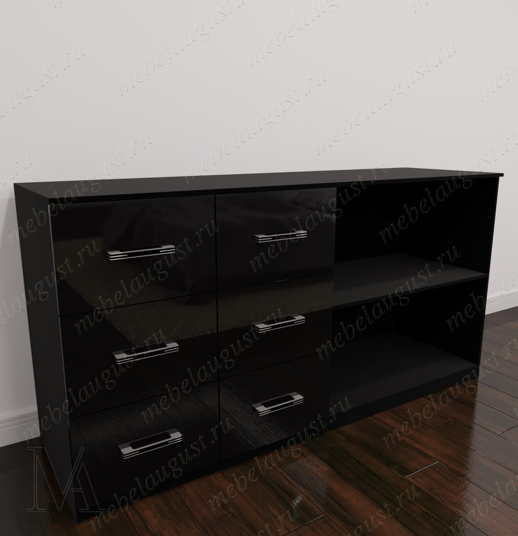 Комод для белья с полками в спальню цвета черный глянец