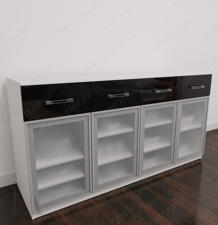 Черно-белый глянцевый комод буфет в кабинет с 4-мя выдвижными ящиками