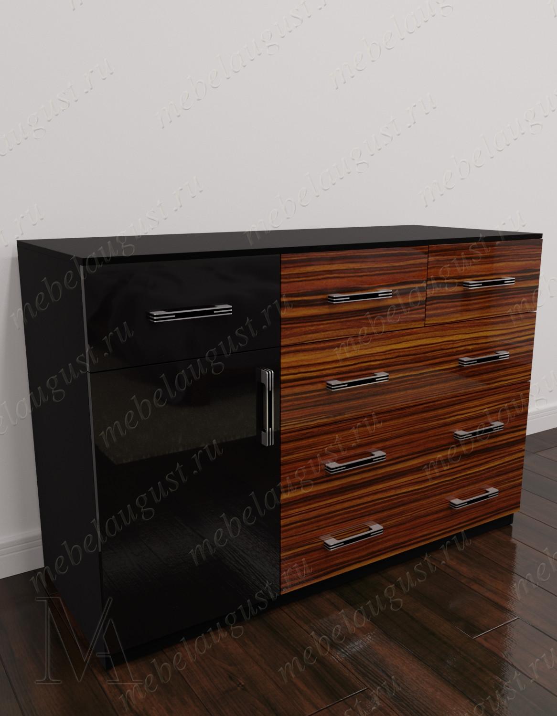 Глянцевый бельевой комод в спальню с дверками и ящиками