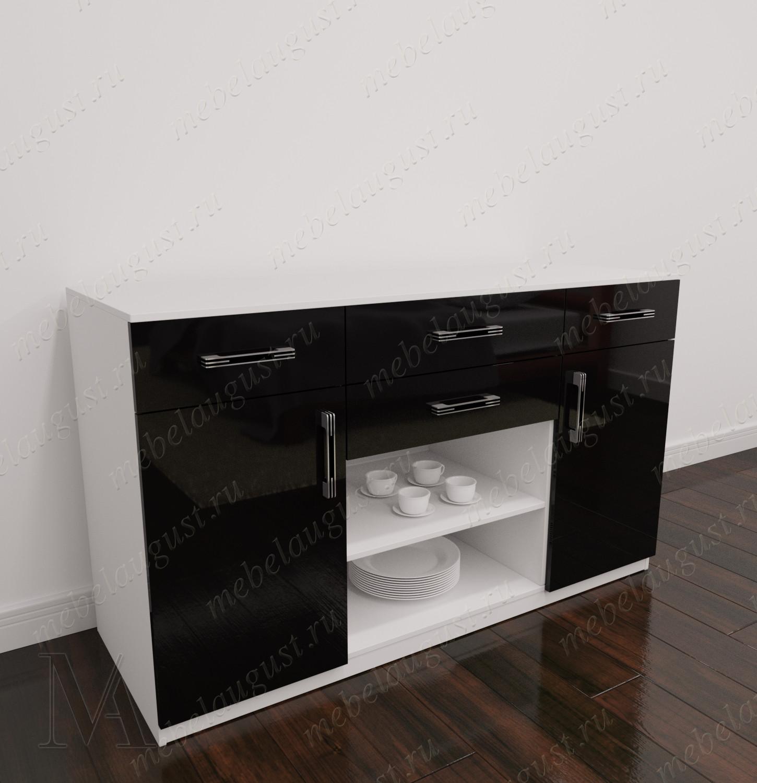 Комод в кабинет с 4-мя ящиками с дверками и ящиками цвета черно-белый глянец