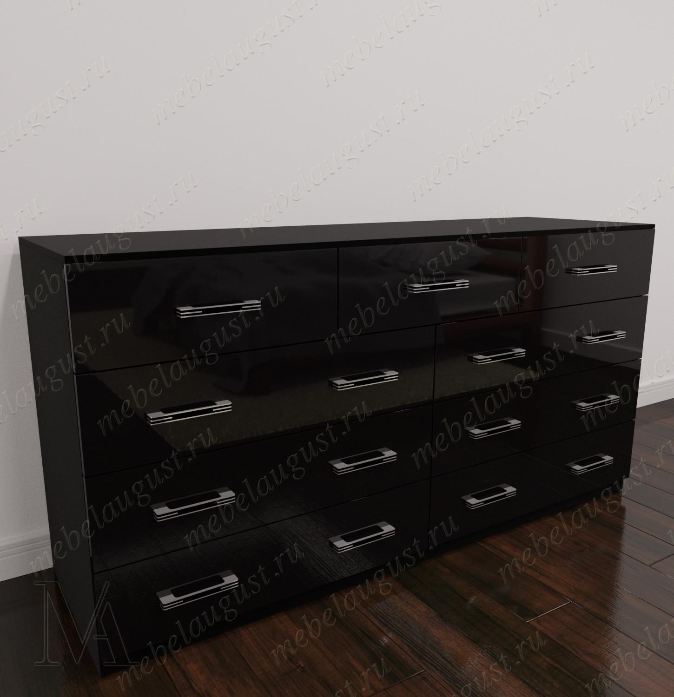 Широкий комод для белья для спальни цвета черный глянец
