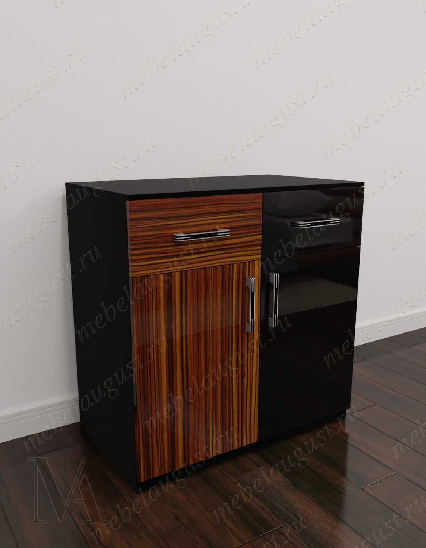 Глянцевый комод обувница с двумя ящиками с дверками и ящиками