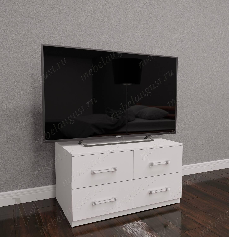 Малогабаритный комод под телевизор с четырьмя выдвижными ящиками цвета белый глянец