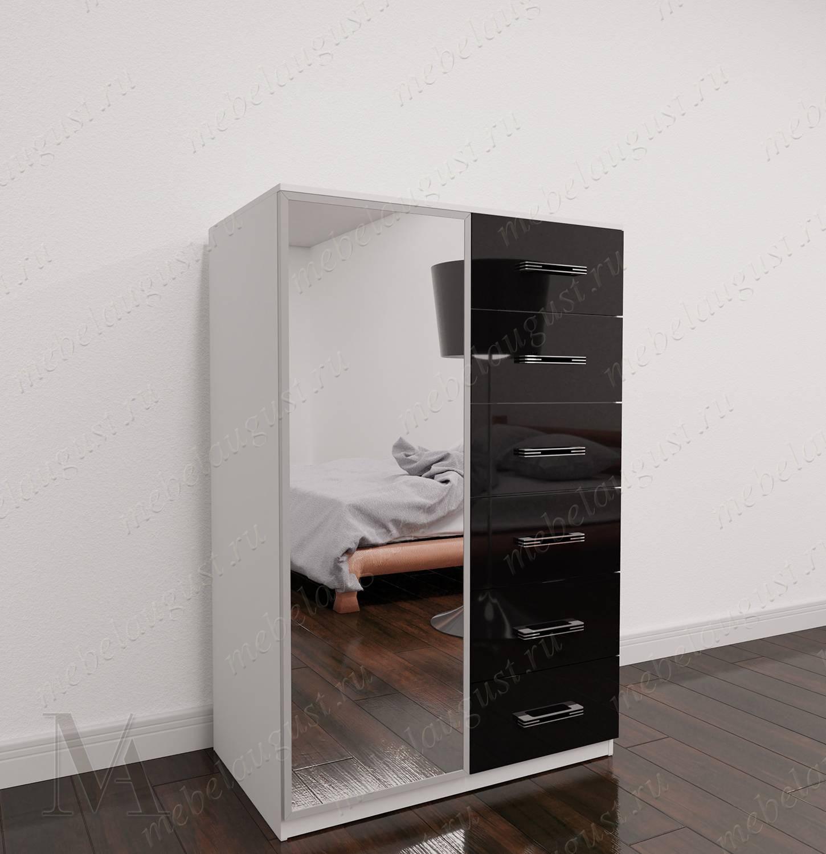 Высокий бельевой комод в спальню цвета черно-белый глянец