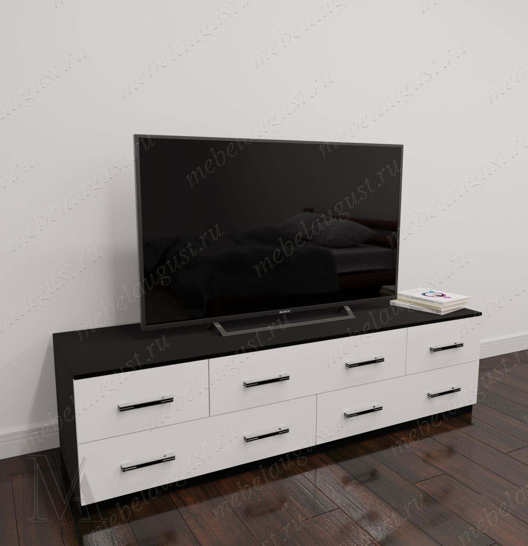Длинный комод в гостиную с полкой для телевизора цвета черно-белый глянец