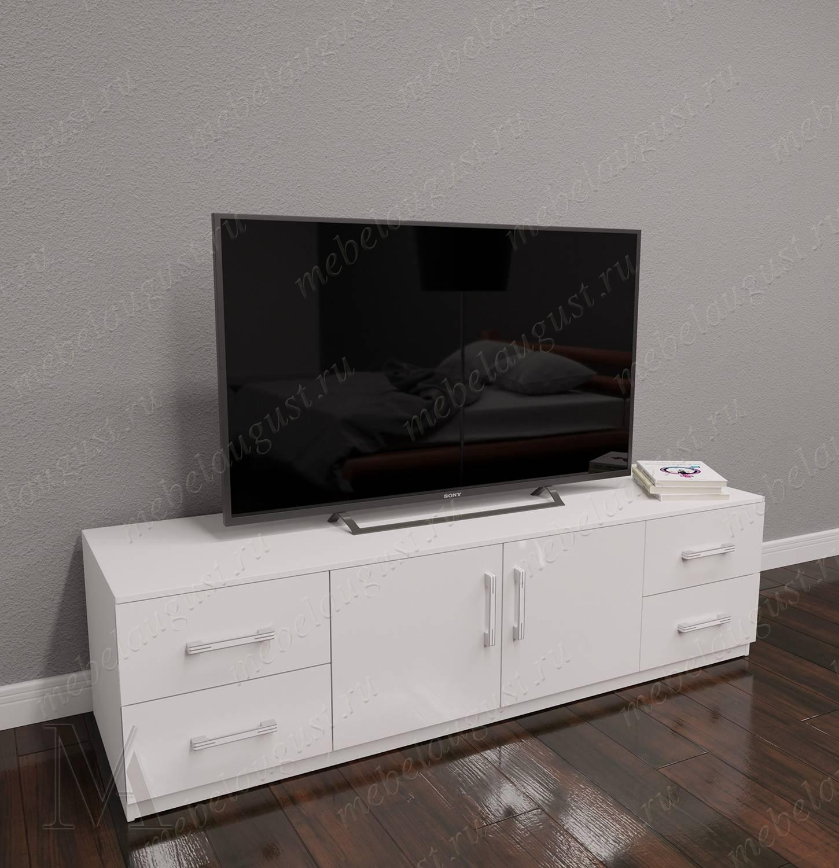 Низкий комод в кабинет с полкой для телевизора цвета белый глянец