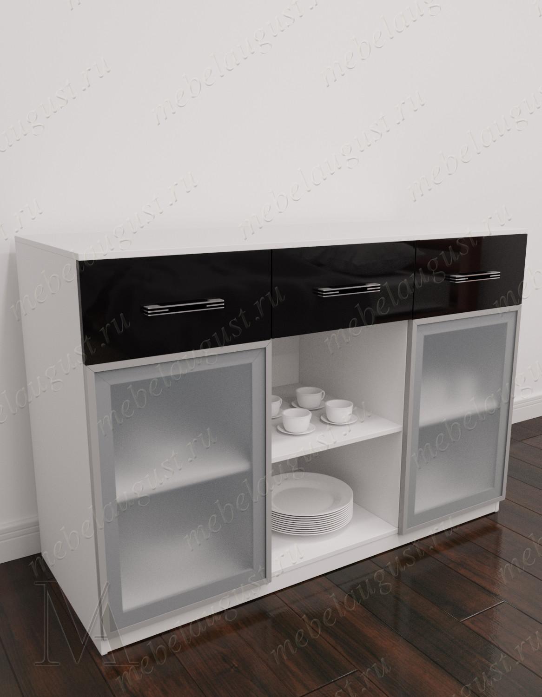 Черно-белый глянцевый комод с полками в кабинет с 3-мя ящиками