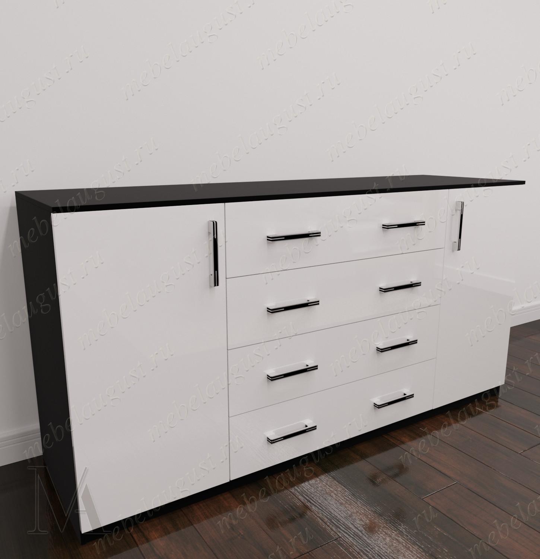 Комод с 4-мя выдвижными ящиками в спальню с дверками и ящиками цвета черно-белый глянец