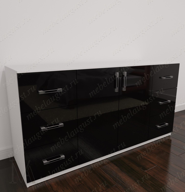 Бельевой комод для спальни с дверками и ящиками цвета черно-белый глянец