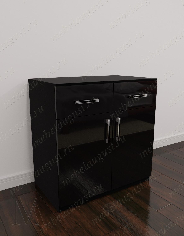 Мини комод с 2-мя ящиками с дверками и ящиками цвета черный глянец